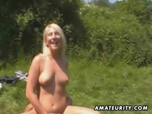 Amateur outdoor threesome action with facial cumshot free