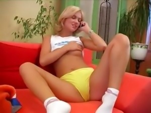 Czech blonde princess fucking a vibrator