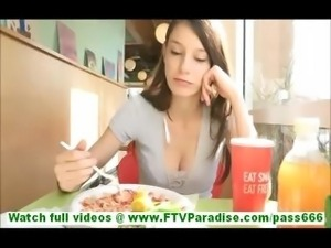 Anessa skinny young brunette flashing tits in kitchen