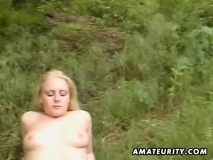 Blonde amateur GF outdoor suck and fuck with facial free