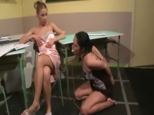 LEZDOM dyke teach sub lesson with dildo free
