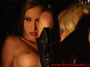 Sensual babes give a sensual lesbo show for lucky male