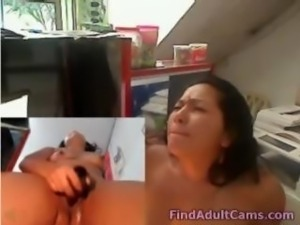 Horny latina dildo and squirt at work