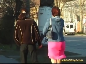 Babe gets fucked on street sex free