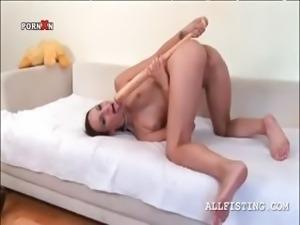 Slim naked slut making best friends with a baseball bat