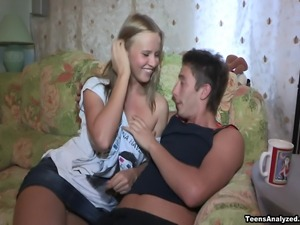 This guy welcomes his girlfriend back from a long party trip with their first...