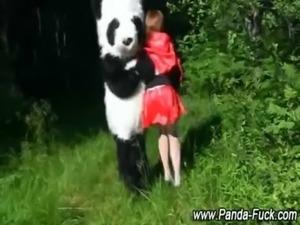 Fetish red riding hood and plush panda free