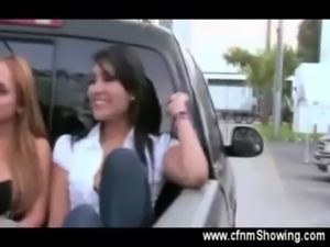 Curious girls jerk off a guy in the back of a pick up free
