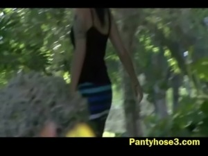 Lovely Elena upskirt video outdoors free