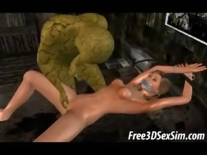 Two 3D cartoon honeys getting fucked by monsters free