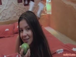 Sheer green lingerie on teen free