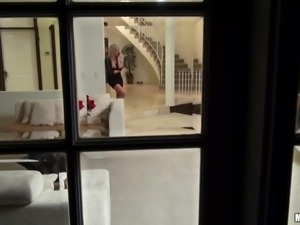 stalker filming a blonde masturbating then enters her house