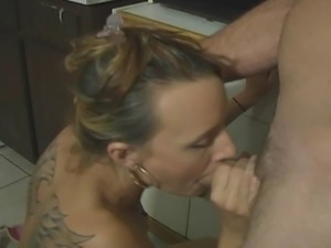 Ayva ,drains another cock in the kitchen