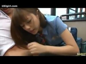 Cute Japanese Schoolgirl On The City Bus free