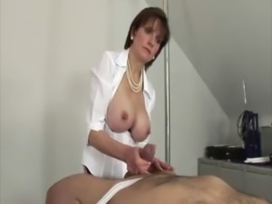 Mature domina wants him hard whille she strokes him free