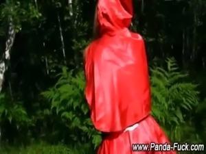 Fetish toy panda strips red riding hood free