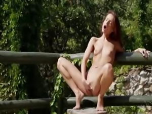 brunette and outdoor posing pussy