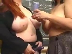 Big-tittied teacher and bbw student eat each other