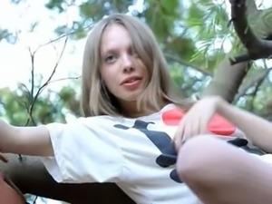 Beautiful skinny teenager Gloria opening