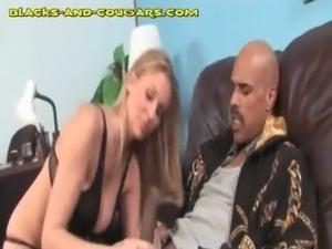 Blonde MILF Enjoys Young Black Cock free