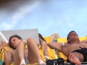 beach topless tits boobs nude nudist hidden spy teen webcam spy caught voyeur...