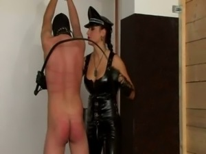 Ass whipping mistress dominates cock free