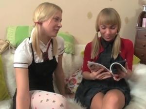 Two blonde leabians exploring each other assholes