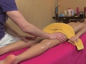 Slim redhead gets massaged and fucked after that