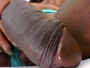 Enjoy dazzling black shemale Diamond Long wanking her big cock in nice stockings