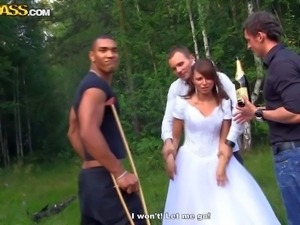 Young bride Madelyn gets attacked by three thick cocks outdoors