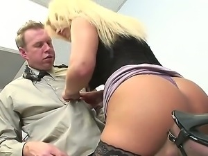 Very hot blonde cutie Shyla Styles seduces her boss and he is not against...