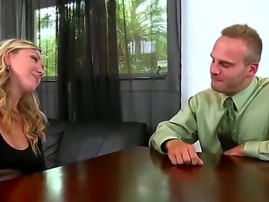 Nice young blonde demonstrates her precious boobies and prepaires to be drilled