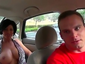 The gorgeous brunette milf whore with a big tits gets seduced and licked by a...