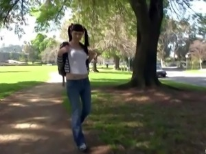 Pigtailed T-girl Bailey Jay is a playful shemale who loves