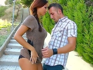 Sexy czech girl Domino gets fucked after a perfect blowjob in a public place