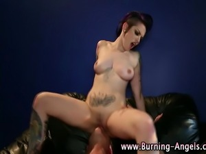 Cock sucking tattooed punk slut gets rammed and eaten out