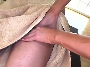 Sexy masseur Kayla Carrera is giving stud a hard boner with her lusty oil...
