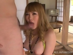 big breasted japanese lady sucks dong