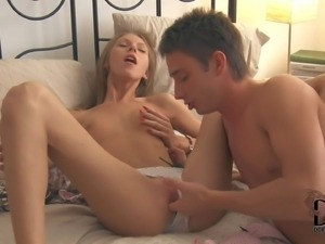 Anjelica is his tender young skinny girlfriend. Alluring small titted