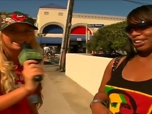 Hot reporter goes around interviewing stunning babes before getting them to...
