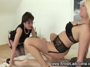 Femdom fetish mature hotties make loser cum with fucking