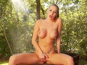 Blonde hottie Danielle Maye pleases her desires in nasty solo fingering session