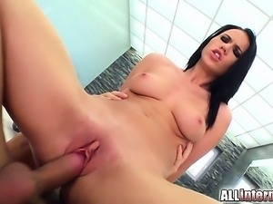 Hot little brunette Denise Sky sucks some cock  gets her pussy fucked and...