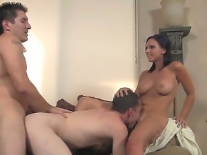 Horny dude is fucked from behind while hes licking Ariel Avalons delicate...