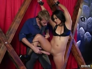 Asian babe Lana Violet in black boots. Shes s slave girl with tied hands in...