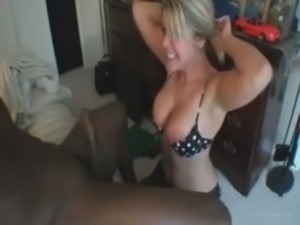 Hot Blondie Giving Her Black Boyfriend Blowjob free