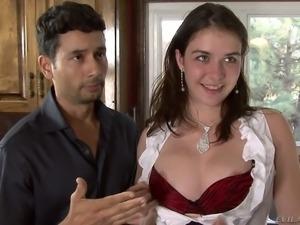 This cuckold scene features Nicole Ride sucking black cock in