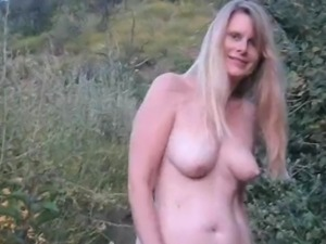 sweet blond gets naked outside