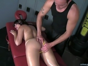 YOung brunette Janice Lacey with hot ass gets massaged and