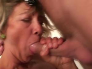 Older whore fucks young boy